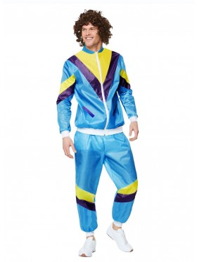 Mens 80s Height Fashion Scouser Tracksuit Shell Suit Costume Scouser 1980s
