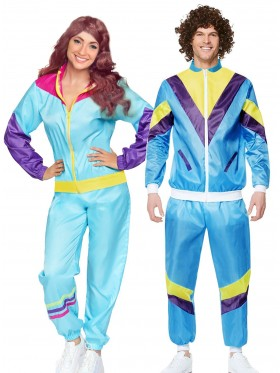 Couple 80s Shell Suit Blue Tracksuit Costume