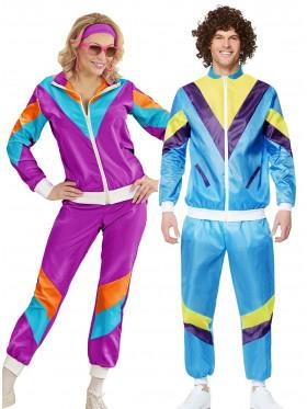 Couple 80s Shell Suit Blue Purple Tracksuit Costume