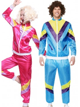 Couple 80s Shell Suit Blue Pink Tracksuit Costume
