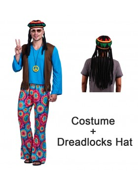 70s Hippy Costume Mens + hat