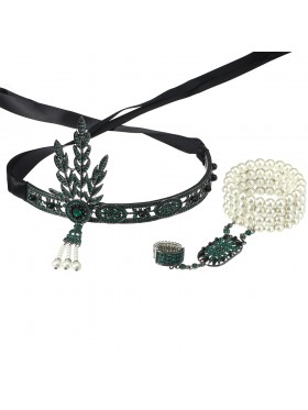 Green 1920s Headband Bracelet Ring Set
