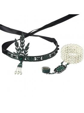 Green 1920s Headband Bracelet Ring Set