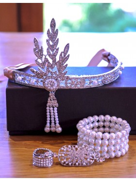 1920s Headband Bracelet Ring Set Vintage Bridal Great Gatsby Flapper Headpiece gangster ladies