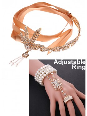 1920s Headband & bracelet ring Vintage Bridal Great Gatsby Flapper Headpiece gangster ladies