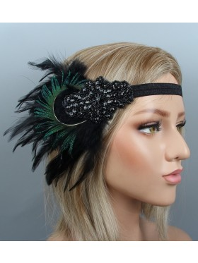 1920s Headband Feather Vintage Bridal Great Gatsby Flapper Headpiece gangster ladies