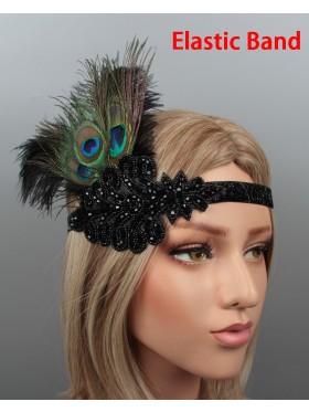 1920s Headband Feather Vintage Bridal Great Gatsby Flapper Headpiece