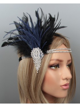 1920s Headband Feather Vintage Bridal Great Gatsby Flapper Headpiece