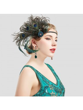 1920s Headband Green Feather Flapper Headpiece