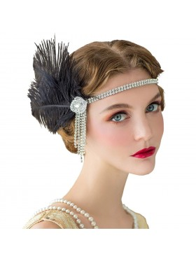 ladies 1920s Headband Feather Flapper