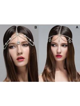 Laides Silver Rhinestones Head Chain Accessorie