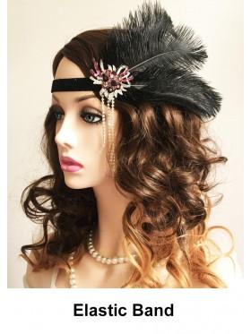 Ladies Black Great Gatsby Flapper Headpiece