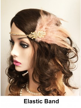 Ladies 20s Headpiece in Apricot color