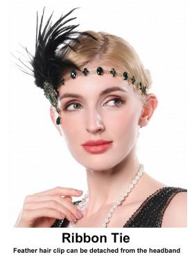 Ladies 20s headband with black feather and green Rhinestones