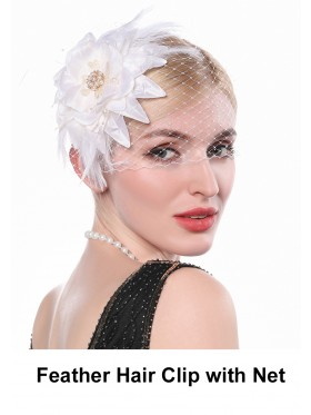 Ladies 20s Feather Hair Clip with Net accessory