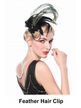Ladies 20s Black Gatsby Feather Hair Clip