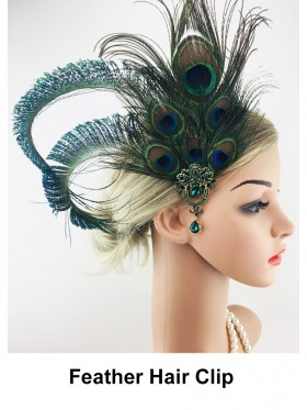 Ladies 1920s Green Peacock Feather Hair Clip
