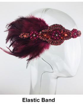 Ladies 1920s Red Feather Headband