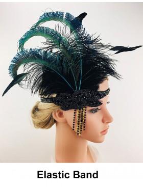 Ladies Great Gatsby 1920's Flapper Feather Headdress