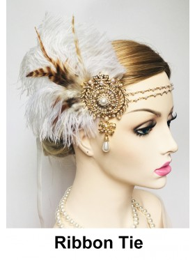 Ladies 1920s Bridal Headband White Feather