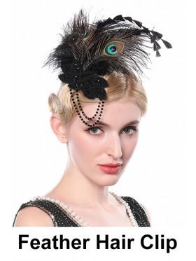 Ladies 1920s Bridal Head Clip Black Peacock Feather