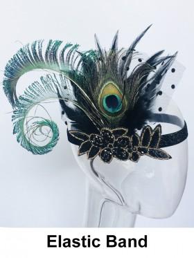 Ladies 1920s Bridal Headband Black Feather