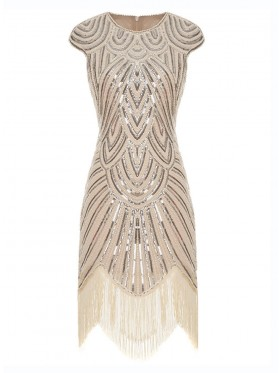 Great Gatsby Charleston Party Costume Beige Flappers Dress