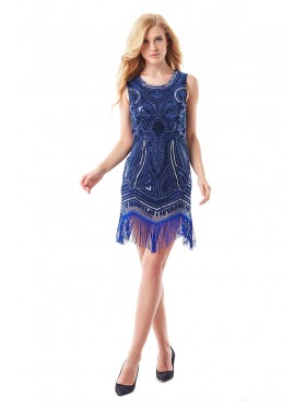 1920s Fashion Dress Blue Cocktail Costume