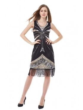 20s Black Great Gatsby Style Dress