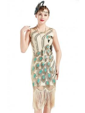 Beige 1920s flapper dress
