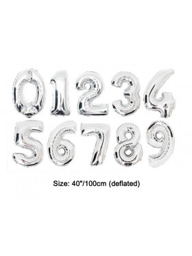 "Silver 40"" Numbers Air Inflatable Foil Balloon"