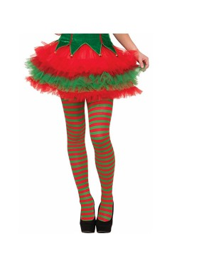 Elf Striped Red Green Christmas Xmas Helper Fancy Dress Costume Pantyhose