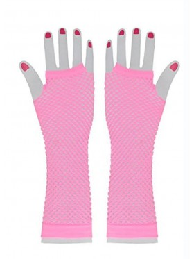 Baby Pink Fishnet Gloves Fingerless Elbow Length 70s 80s Women's Neon Party Dance