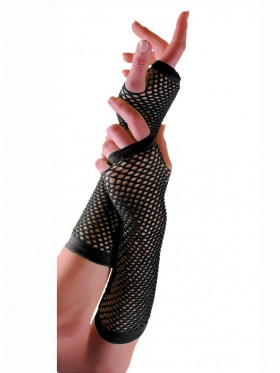 Black Fishnet Gloves Fingerless Elbow Length 70s 80s Women's Neon Party Dance