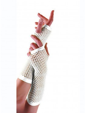 White Fishnet Gloves Fingerless Elbow Length 70s 80s Women's Neon Party Dance