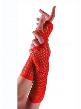 Red Fishnet Gloves Fingerless Elbow Length 70s 80s Women's Neon Party Dance