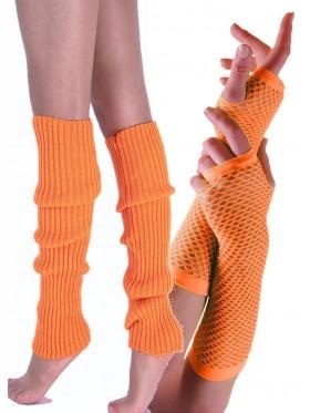 Coobey 80s Neon Fishnet Gloves Leg Warmers accessory set Orange