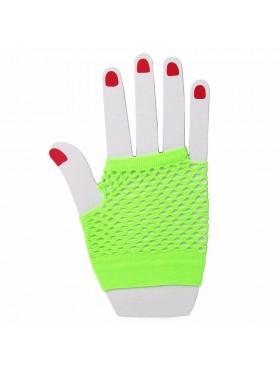 Green Fishnet Gloves Fingerless Wrist Length 70s 80s Women's Neon Party Dance