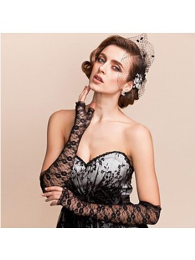 Black Gloves Fingerless Over Elbow Length 70s 80s Women's Lace Party Dance Costume