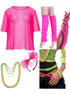 Pink Neon Fishnet Vest Top T-Shirt Set