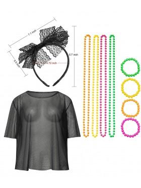 Black String Vest Mash Top Net Set
