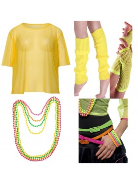 Yellow String Vest Mash Top Net Neon Punk Rocker Fishnet Rockstar 80s 1980s Costume  Beaded Necklace Bracelet legwarmers gloves