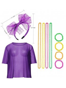 Purple String Vest Mash Top Net Set