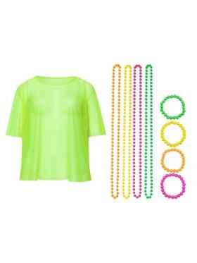 Green String Vest Mash Top Net Neon Punk Rocker Fishnet Rockstar 80s 1980s Costume Beaded Necklace Bracelet Accessory