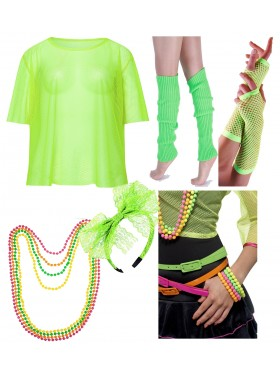 Green String Vest Mash Top Net Neon Punk Rocker Fishnet Rockstar 80s 1980s Costume Beaded Necklace Bracelet legwarmers gloves