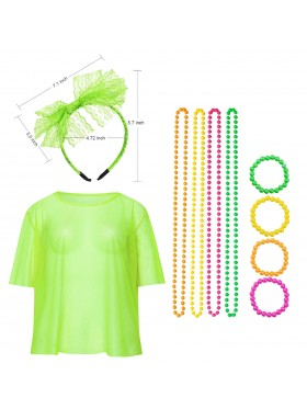 Green String Vest Mash Top Net Set