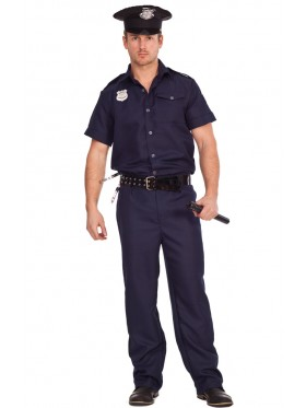 Mens Policeman Cop Uniform Fancy Dress