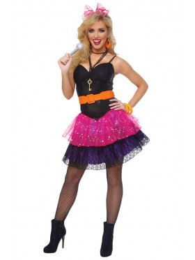 Ladies Madonna 80s Pop Star Diva Cyndi Lauper Fancy Dress Costume