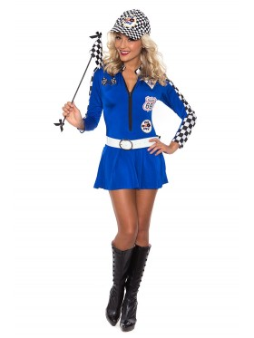 Blue Sexy Miss Indy Super Car Racer Racing Sport Driver Super Car Grid Girl Fancy Costume Outfit