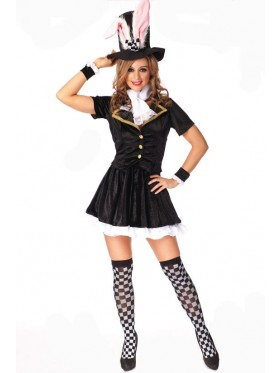Ladies Black Bunny Rabbit Costume Fancy Dress Halloween Hens Party Full Outfit